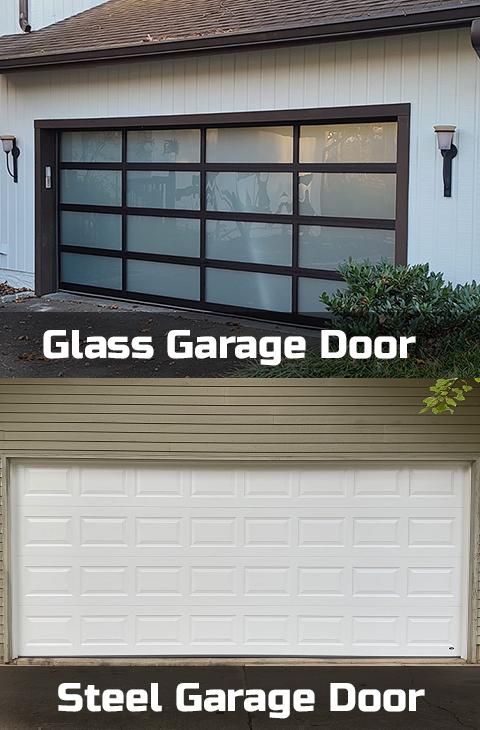 steel and glass garage doors